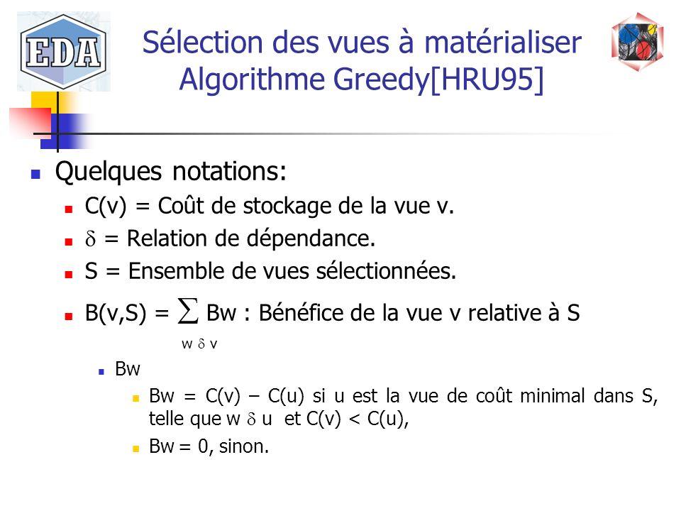 Sélection des vues à matérialiser Algorithme Greedy[HRU95]